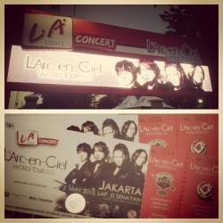 The tickets! Miss this moment already… #larcenciel #larc #laruku #rock #band #japanese #japan #music #jpop #cielers #LarukuJKT #worldtour #20years #2012 #jakarta #indonesia #concert #hyde #ken #tetsuya #yukihiro #tickets