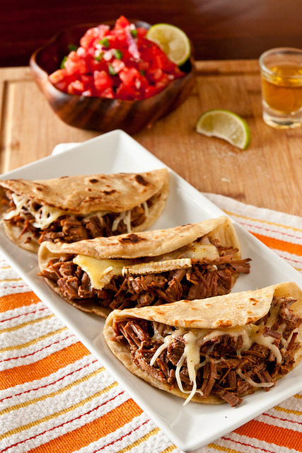 gastrogirl:  brie and brisket tacos with mango bbq sauce.
