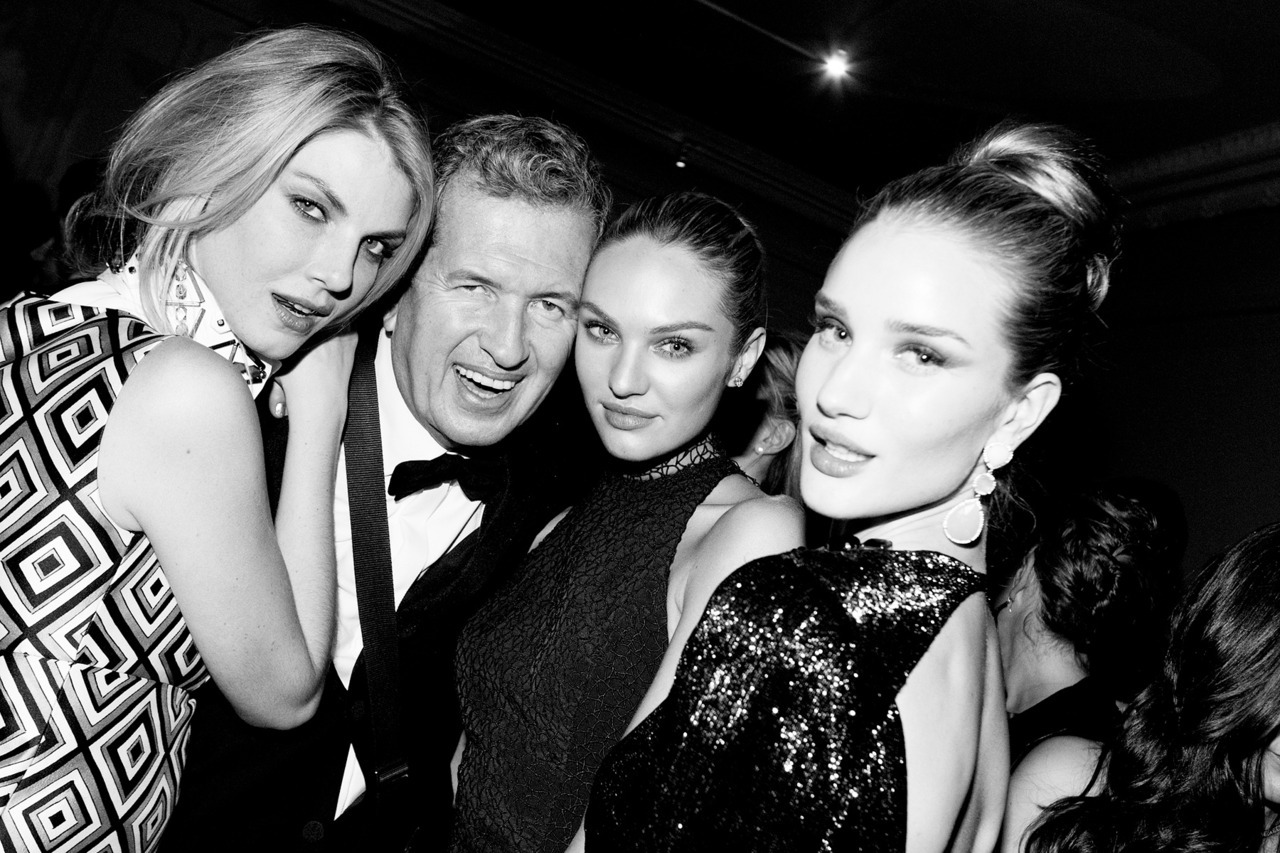 vogue:  Angela Lindvall, Mario Testino, Candice Swanepoel, and Rosie Huntington-Whiteley at the Costume Institute Gala After-Party