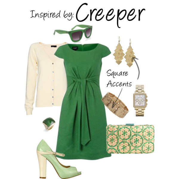 Creeper (MineCraft) by ladysnip3r featuring facet jewelry With the recent release of Minecraft on the Xbox360, I thought it would be fun to do a Creeper inspired outfit. I chose a box-y dress with square accents to imitate Minecraft's cube style. (Reference Image)  Summer shift dress, £110Mango long top, £15Nine west shoes, $69SERPUI MARIE bamboo handbag, $195Tinley Road tear drop earrings, $14Michael Kors gold tone jewelry, $275Miss Selfridge stretch jewelry, $13Ariella Collection facet jewelry, $68BCBG Max Azria square sunglasses, $90