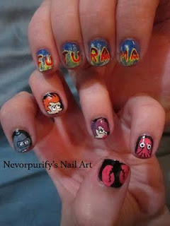 Believe it or not, this is not the first example of Futurama nail art we've seen. There was this set a few weeks ago. I'd pick a favorite, but those things look sharp. (via Nevorpurify's Nail Art: Futurama)