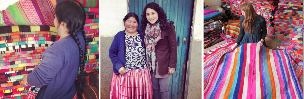 for several years now, we have been working with sofia, a woman here in la paz who sources vintage frazadas - blankets woven by the aymara people - for l'aviva home. she's continually on the lookout for special pieces for us, and we adore working with her. (along with friend adriana, who bridges some of the logistical and technical bits of the process). l'aviva home's 'team la paz'. when i come to bolivia, i visit sofia in her home in el alto (an outgrowth of la paz which sits high above the rest of the city) - a world unto itself. it's here that sofia guards her most coveted finds. frazadas have traditionally been made by the aymara for their homes and daily use - they protect against the high-altitude cold, and are used as 'picnic' blankets upon which the aymara eat their mid-day meal working in the alto plano.  the more frazadas i see, the more i am struck by how seemingly endless the procession of colors and woven details and pattern variations is. it occurs to me that i cannot think of another woven tradition in which there is such incredible variety within the form. beyond a few very basic parameters (frazadas are made in two symmetrical panels, each limited by the width of the loom, and joined together by a central seam), there seems to be no dictates followed in terms of design. each frazada is wholly individual. the price of wool + alpaca has risen in recent years to the extent that it's become prohibitive for the aymara to continue makingthese pieces for their own use - instead, they are often turning to less expensive, mass-produced pieces made from artificial materials. consequently, this tradition - one of the mainstays of aymara life - is in danger of dying out. we'll continue to include the vintage frazadas in our collections for as long as sofia is able to find incredibly lovely ones for us. on this trip, we have also begun to look at moving forward. we have planted the seeds for a new collaboration, in which we will begin to work with a group here in bolivia who will be making cushions for us - new pieces, from alpaca, based on traditional frazada designs. this project will be done in conjunction with ayni bolivia, an inspiring organization based here in la paz that i am excited to work with. we'll provide the artisans with certain color and size parameters - but, beyond that, the artisans will design the pieces, each individual, based on their own visions - in keeping with the sense of individual expression inherent in the frazada tradition. more on this to come. in the meantime, our new collection of vintage frazadas is currently en route back to new york, soon to share with all.