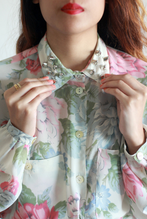 Vintage Lana Floral Studded Collar Blouse SOLD *Tarte Vintage Exclusive!