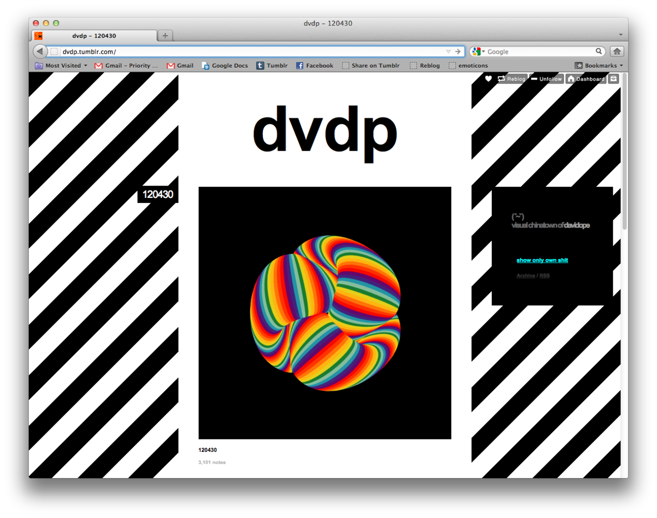 dvdp.tumblr.com by David Dope GIFs were reborn on Tumblr because of artists like David Dope. Constnatly stretches the medium. If there were ever a perfect medium for Tumblr, the GIF would be it.
