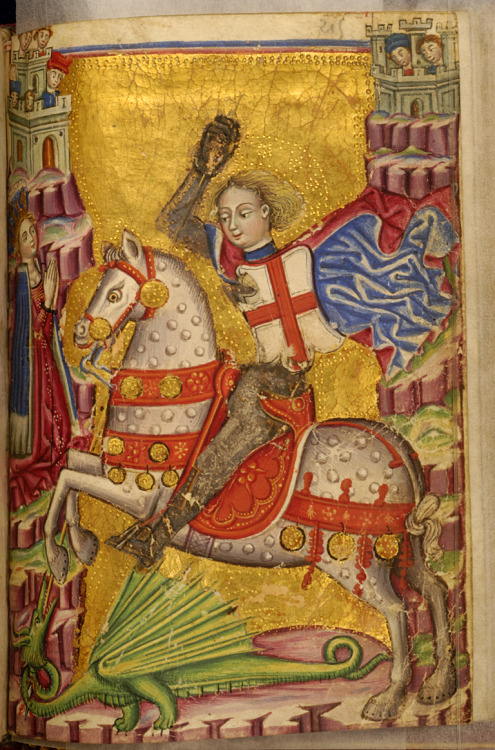 jothelibrarian:  Pretty medieval manuscript of the day is St George slaying the dragon, from the same Italian book of hours we looked at yesterday. I still can't believe how much gold leaf was used in this book. The patrons must have had a phenomenal amount of money to spend on something this lavish. I think this image is hilarious. St George's faithful charger looks far more like a wooden horse from a carousel than a battle hardened stallion. St George himself looks like a child, and don't get me started on the dragon! I love it, but to my twenty-first century eyes, it looks completely ridiculous! Image source: Walters Museum MS W322. Creative Commons licensed via Wikimedia Commons.