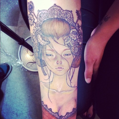 fuckyeahtattoos:  my newest addition…an audrey kawasaki piece :) done by my fav..christel at sol tribe tattoo in denver. i absolutely adore her, she does amazing work!