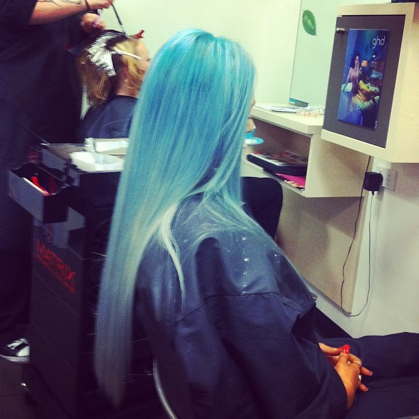 #work #hair #blue #hairdressing #colour #ombre  (Taken with instagram)