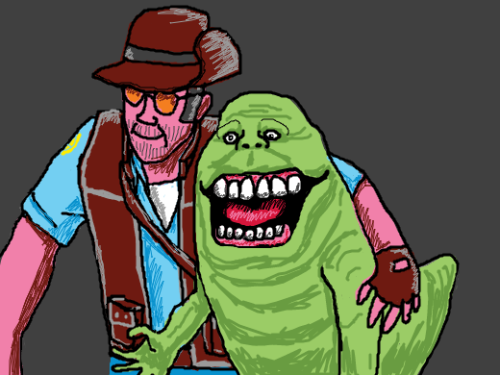 A homeless man with a pet slimer