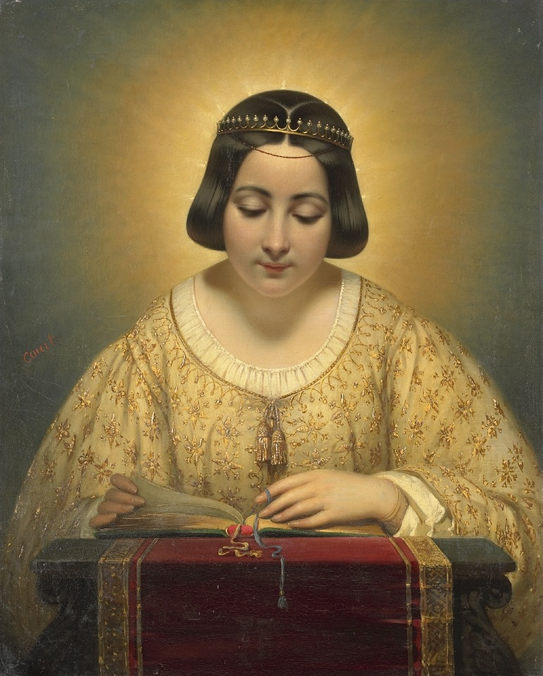 womenreading:  Gravin de Pagès, née de Cornellan, as St. Catherine (1820-1850)  Joseph-Désiré Court (1797-1865). Romanticism. Portrait. Oil on canvas. Rijksmuseum. Amsterdam, Netherlands. Court, a painter of historical subjects and portraits, was a pupil at the École des Beaux-Arts under Gros. There were high expectations when he exhibited in 1827 'The Death of Caesar,' a work manifesting earnest thought, and a conscientious handling of the facts of history. This is now preserved in the Louvre. Having shown himself in this and other works a vigorous painter, capable of seizing a subject with a masterly grasp, Court eventually dissipated his talents in the production of a series of empty official pictures painted by order of Louis Philippe.