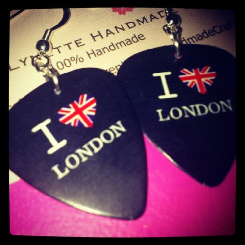 I heart London. Guitar pick earrings. Great for the Olympics. (Taken with instagram)