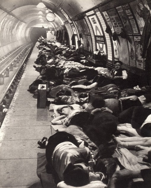 London underground during the war, 1941.