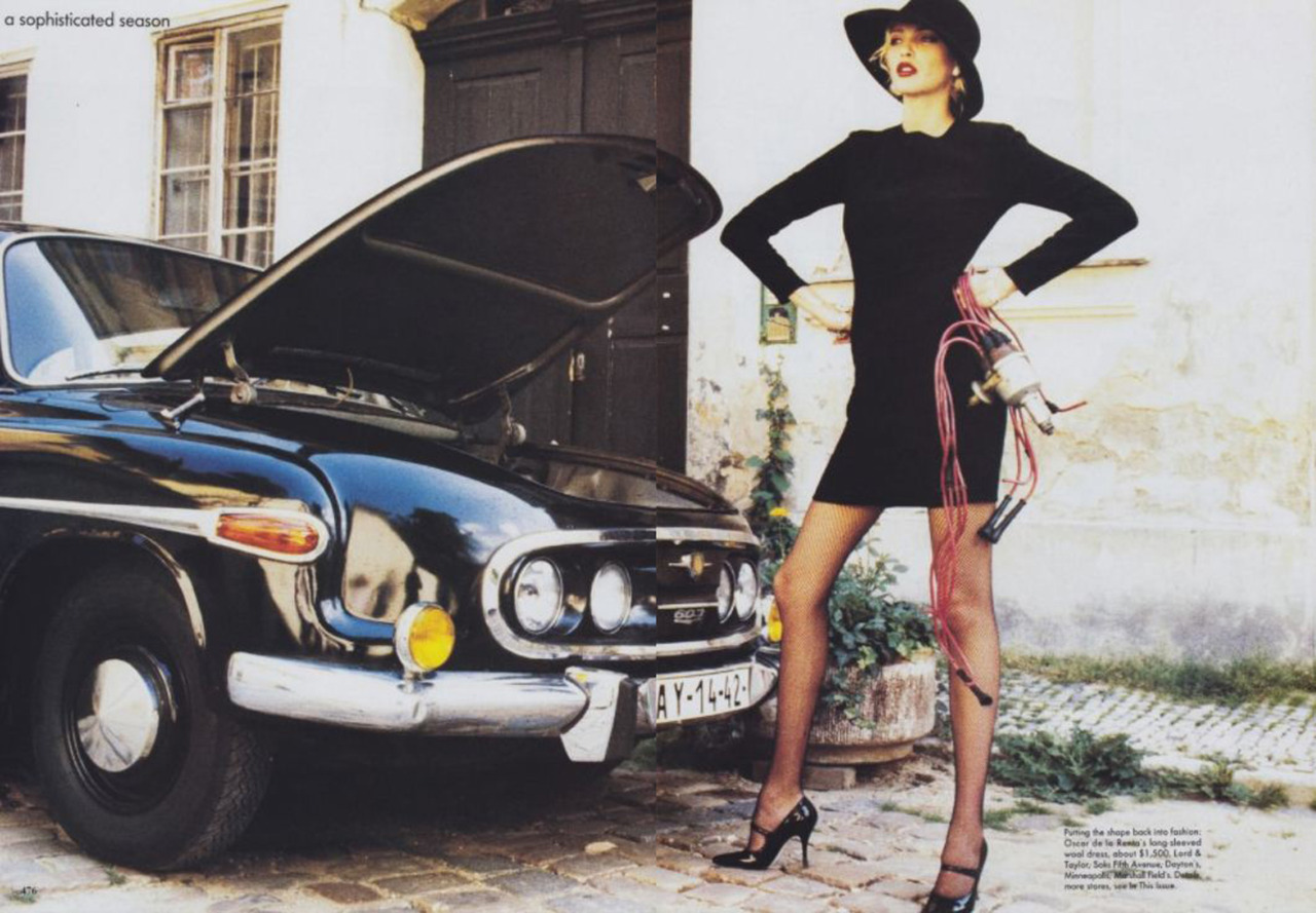 I'm dying to know how to fix cars. From Vogue, 1994.