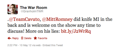 "Current TV's Jennifer Granholm: Hey Mitt, the door's always open! On Fox News, Neil Cavuto asked Mitt Romney about Granholm's accusation that Romney is taking credit for the auto bailout where exactly zero credit is due. Granholm tweeted that Mittens is welcome to come answer her in person. She's encouraging fans to retweet her invitation for Romney to come on The War Room and explain exactly how telling Detroit to go bankrupt constitutes ""a lot of credit"" for the success of the bailout. -Jess"