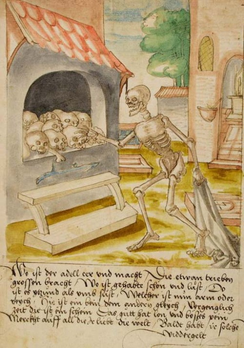 "This guy is all, ""Let's go SKULL SHOPPING!"" demonagerie:  Trogen, Kantonsbibliothek Appenzell Ausserrhoden, CM Ms. 13, f. 104r. Johann von Schwarzenberg: Memorial der Tugendt. c.1530/40. Death and the bone house."