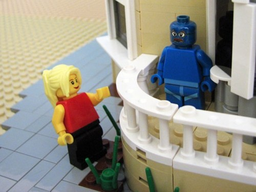 thedailywhat:  Arrested Development Lego Set of the Day: Just when you thought the Arrested Development news couldn't get any better, Lego builder Matt DeLanoy has created a Lego playset (complete with minifigs!) based on the recently-resurrected sitcom. Structures include the Bluth home, the Bluth Company stair car, and the banana stand (money presumably not included). The stair car is currently up for voting on Lego's crowdsourced idea site, Cuusoo, and could be turned into an official Lego set if it gathers enough votes and meet the approval of Lego's design jury. Meanwhile, it's probably safe to say that the Lego version of the Bluth house is better-constructed than the real thing. [collider.]