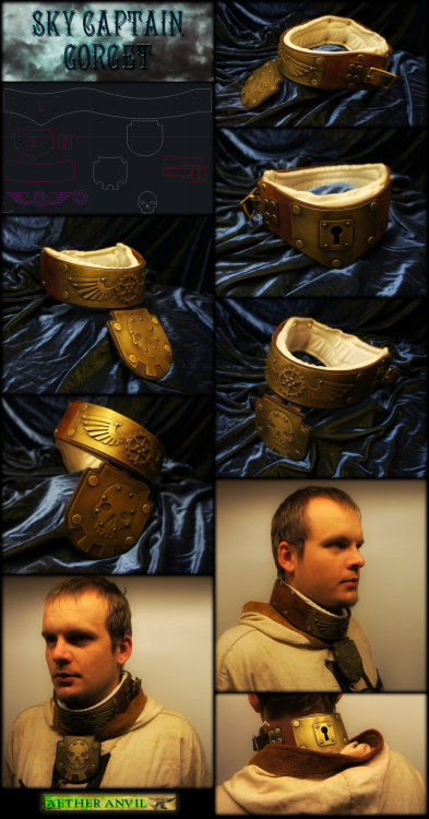 "Sky Captain Steampunk Gorget by ~epicfoam A wonderful adjustable collar design and completion fit for any ""insert awesome here""punk outfit!"