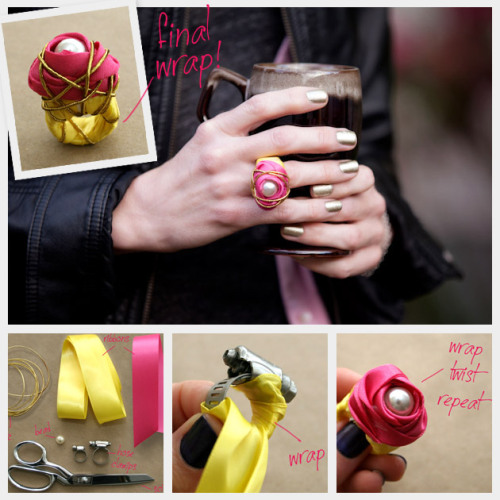 DIY Hardware Store Ribbon Wrapped Cocktail Ring Tutorial. I love jewelry made from hardware store purchases. I posted a small roundup of three hose clamp jewelry tutorials here. Tutorial for this statement ring from Trinkets in Bloom here.