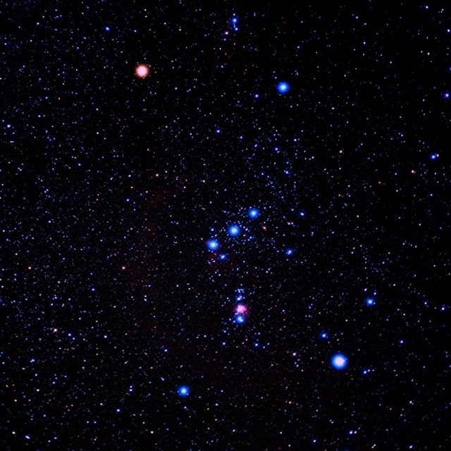 diaryofaromanifilmmaker:  Orion is perhaps the easiest constellation to identify, thanks in part to the prominent asterism, Belt of Orion, the three bright stars in a row. From this starting position you should be able to spot three star hanging below it forming his sword. Now just in case you are interested, the star in the middle of his sword is actually a Nebula, the Orion Nebula. Below this, forming a sort of 'pyramid' shape are Rigel and Saiph, his feet. Above we have  Betelgeuse, Meissa and Belletrix forming his head and shoulders but the bit I like the most is formed by a few little minor stars across to the right where I see a bow.