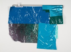 Kelly Jazvac Salp, 2012 salvaged adhesive vinyl, steel, chip clips 42 x 29 x 1""