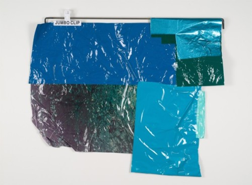 thepaintedwrd:  Kelly Jazvac Salp, 2012 salvaged adhesive vinyl, steel, chip clips 42 x 29 x 1""