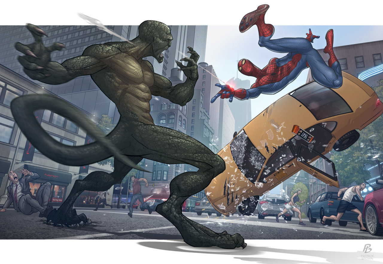 rafaelneko:  The Amazing Spiderman & The Disgusting Lizardman