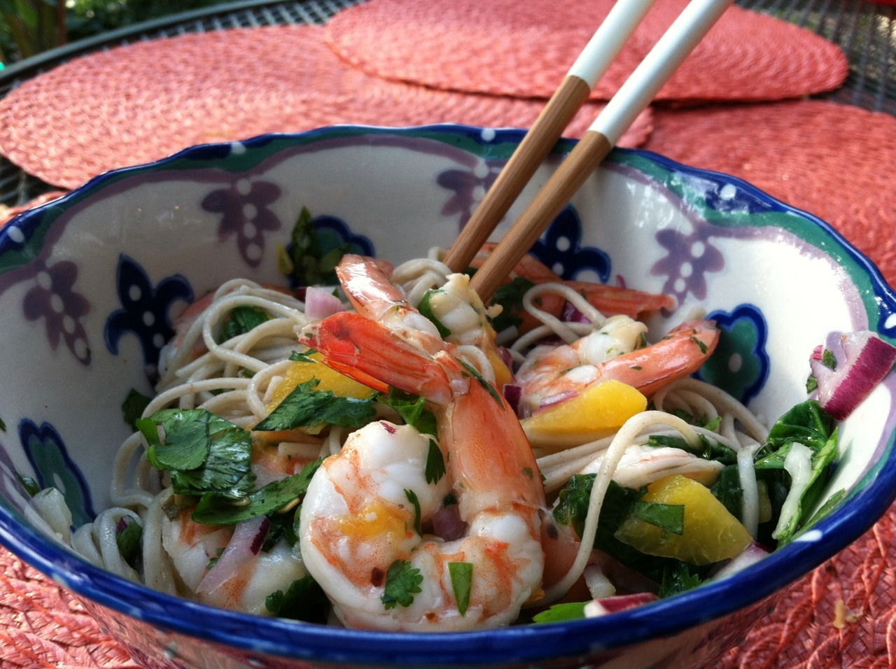 Basil Mint Soba Noodle Salad with Shrimp and Peaches 1/2 cup rice vinegar 2 tsp sugar 1/2 tsp salt 3 garlic cloves, crusehd 1/2 fresh red chili, finely chopped 1/2 tsp toasted sesame oil grated zest and juice of 1 lime 1/2 cup cup basil leaves, chopped (if you can get use some Thai basil, but much less of it) 1/2 cup mint leaves 2 1/2 cups cilantro leaves, chopped 1/2 red onion, very thinly sliced 1 cup chopped peaches Marinate shrimp in lime juice and garlic salt and parsley and a bit of pepper to taste.  In a small saucepan gently warm the vinegar, sugar, and salt for up to 1 minute, just until the sugar dissolves. Remove from the heat and add the garlic, chile and sesame oil. Allow to cool, then add the lime zest and juice.  Cook the noodles in plenty of boiling salted water, stirring occasionally. They should take 5-8 minutes to become tender but still al dente. Drain and rinse well under running cold water. Shake off as much of the excess water as possible, then leave to dry on a dish towel. Sautee shrimp in skillet with cooking spray until just good through, about 3 minutes.  In a mixing bowl toss the noodles with the dressing, peaches, shrimp, half of the herbs and the onion. You can now leave this aside for 1 to 2 hours. Whne ready to serve add the rest of the herbs and mix well, then pile on a plate or in a bowl.   Adapted via Yotam Ottolenghi's Soba Noodles with Eggplant and Mango and Wholeliving's Papaya, Shrimp, and Soba Salad