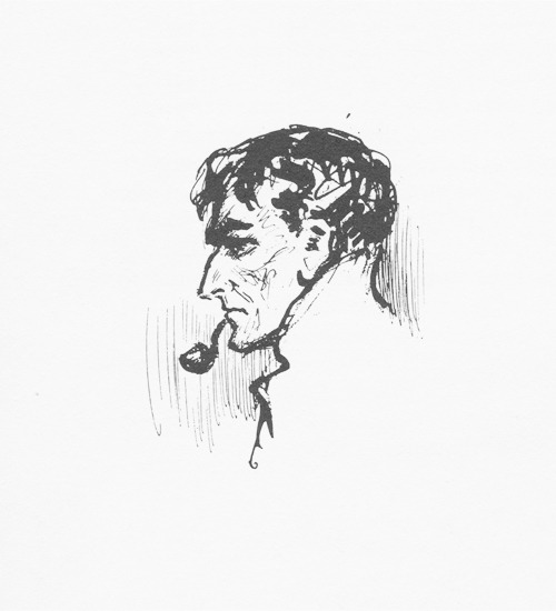 The American artist Frederic Dorr Steele's portrait of Sherlock Holmes; the most popular of all the portraits of Holmes outside Great Britain. Though dated some twenty-five years after the Paget Sketch (1891), it is intended to show Holmes as a young, and not a middle-aged, man.