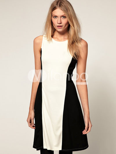 Black White Split Polyester Rayon Sleeveless Bateau Neckline Party Dressss...) :  black party dress neckline sleeveless