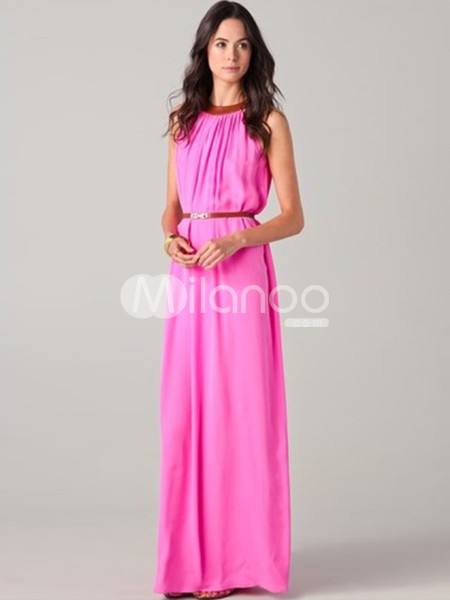 NEWSleeveless Shaping Maxi Chiffon Womens Party Dress