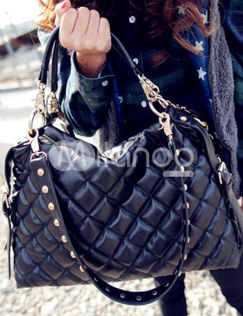 Black Quilted Thread PU Zip Closure Womens Shoulder Bag