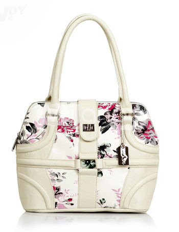 Elegant 30*10*25cm Floral PU Side Zipper Womens Satchel
