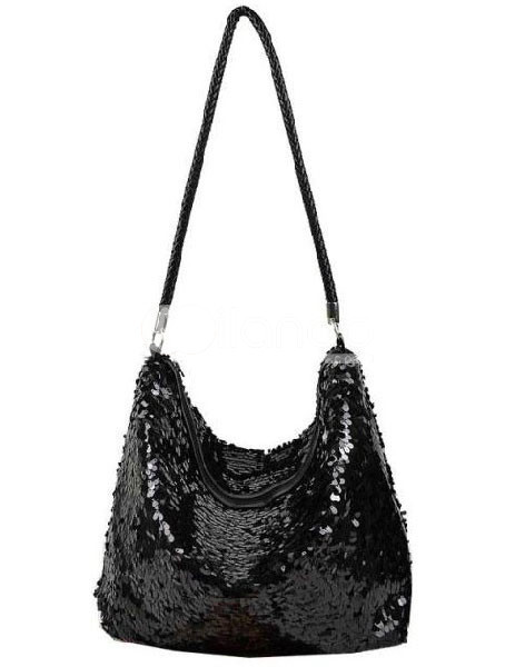 Black Sparkling Sequin Zip Closure Womens Shoulder Bag :  black sparkling shoulder bag