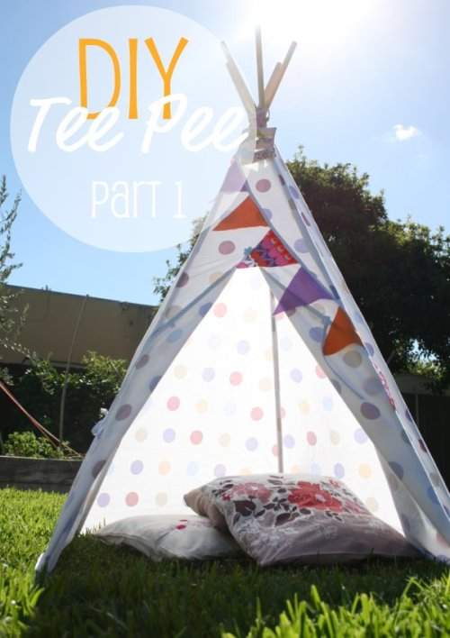 rainbowsandunicornscrafts:  DIY Teepee Tutorial. Tutorials from My Poppet. Part One: construction of teepee structure here. Part Two: construction of covering using a queen flat sheet here.