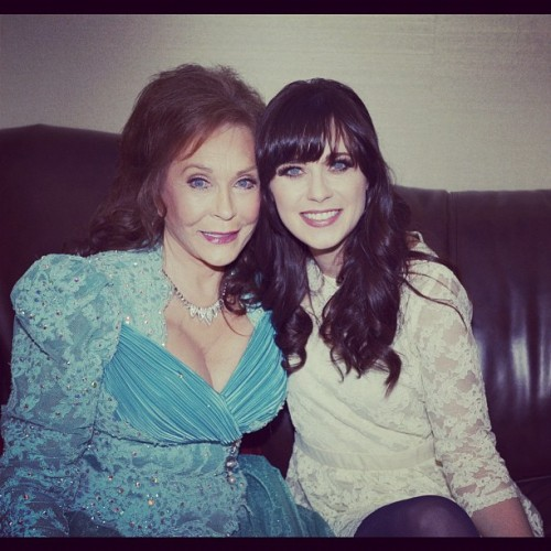 "zooeydeschanel:  Loretta Lynn asked me to do ""coal miner's daughter"" on broadway! I said YES! (Taken with instagram)  She is SO lucky. And Loretta looks so beautiful!"