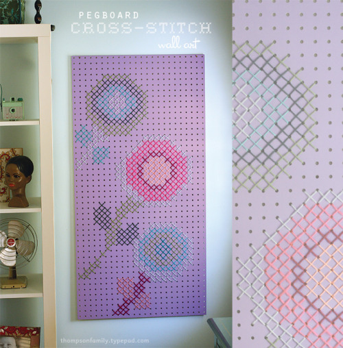 (via Thompson Family-Life: Pegboard Cross-Stitch Wall Art D.I.Y. (& a giveaway winner!))