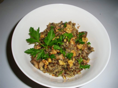 Quinoa with Green Lentils and a Mushroom Gravy  It's been a while since I have had the luxury of posting a recipe.  This lovely dish can be eaten as a side dish or as the main course. For this recipe I used French green lentils for their firm texture after cooking, and the peppery kick they add to the dish. Interestingly enough the peppery flavor is said to come from the volcanic soil they are grown in.  As a soil nerd, this tickles my fancy!  This is the first recipe I am posting from my iPad in HTML so I'm keeping my fingers crosses everything comes out beautifully!    Ingredients: 1 1/2 cups Vegetable Broth  1 cup of French Green Lentils 1 cup Dry Quinoa 2 cups Vegetable Broth 1/2 Tbsp Olive Oil 1/4 cup Shallots, minced 1/2 Clove Garlic, minced 8 oz Brown Mushrooms, sliced into large pieces (you can also use canned mushrooms) 1 cup Mushroom Broth 2 tsp Arrowroot Salt and pepper to taste 1/4 cup Walnuts, toasted & chopped Fresh Parsley to garnish (optional)  Instructions:    Add broth to a saucepan and bring to a boil. Add lentils, boil for 2 or 3 minutes then reduce heat to a simmer. Cook until tender. Cook for 45 minutes or till tender.    Add broth and quinoa into a pot and bring to a boil.  Reduce heat and simmer for about 15 minutes, till liquid is absorbed.     Remove from heat and add lentils, lightly toss together. Set aside.    In a sauce pan heat olive oil and add shallots, cook until translucent (add vegetable stock if needed for moisture).       Add mushrooms and garlic and sear lightly, adding a little stock if needed. Set aside.    In a small sauce pan heat mushroom stock to a light boil, whisk in arrowroot until smooth. Reduce heat and cook until sauce reduces and thickens.  Add sauce to mushroom skillet to glaze mushrooms.     Pour this mixture over lentils and quinoa.     If you have some raw walnuts then set the oven to 200 degrees and pop a handful of walnuts into the oven. Let roast for about 10 mins, shaking the pan periodically. I always taste test them!  Garnish with parsley and walnuts then enjoy!