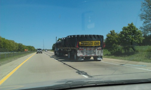 May 10th. Drove back to the D today, passed this on I-94. I'm still wondering what on EARTH could possibly need tires this big.