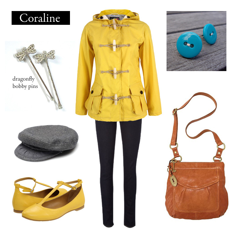 """I'm going for a walk,"" said Coraline. ""Don't go too far,"" said her mother. ""And dress up warmly.""  Outfit inspired by Henry Sellick's adaptation of Coraline by Neil Gaiman. [Editor's Note: In the book Coraline sports a blue coat and a red scarf. But at this point, Sellick's interpretation felt more recognizable.] Yellow Duffle Coat 