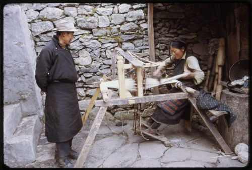 Woman weaving in Lachung, Sikkim. May 1971