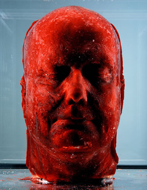 "aylaisafox:  bathsabbath:  hate-resolved:  Marc Quinn – 'Self' (1991) Cast of own head made with 4.5 litres of his own blood (frozen).  He does these portraits every five years to document his change in appearance. It takes him 5 months to collect the blood. Charles Saatchi owned one of Quinn's ""Self"" sculptures and kept it in his freezer. When he was having his kitchen redone, the builders accidentally unplugged the fridge and came back to find a shit ton of blood seeping from the fridge. Metal.  Oh my god, this is absolutely brilliant!"