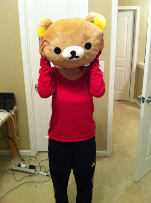 In honor of the last reblogged photo my rilakkuma hot water bed bottle thingie.  It was a birthday present!