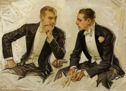 hotguysinart:  Conversational Intrigue by J.C Leyendecker, date unknown.