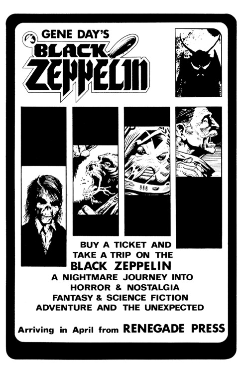 Promotional ad for Gene Day's Black Zeppelin #1 featuring work by Gene Day, Dave Sim, Charles Vess, Dan Day, and David Day, 1985.
