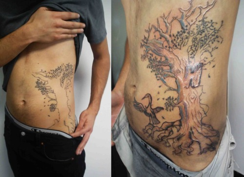 I did this tattoo to a friend who use to have an uninished tree, so he came to me to make it look more like tree :P He was very happy with the result. First session of many.  www.flavors.me/edetsu facebook: Edetsu F.