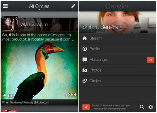 Google has finally unveiled the revamped version of Google Plus for the iPhone. The overhaul marks the first time the latest social networking site had an update, offering a more efficient interface - with bigger text, floating photos, and an overall kinetic feel.  Read more