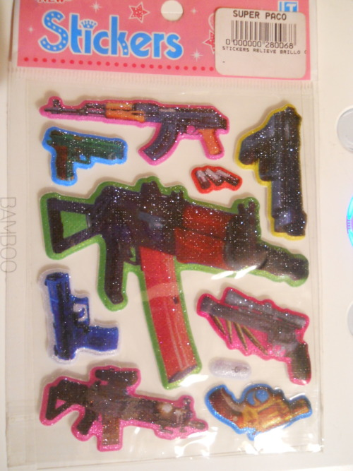 silverspleen:  Some more hilariously odd stuff from Ecuador. This week… Sparkly rainbow gun stickers!