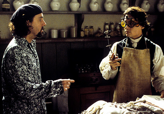 Tim Burton with Johnny Depp during the filming of Sleepy Hollow in 1999