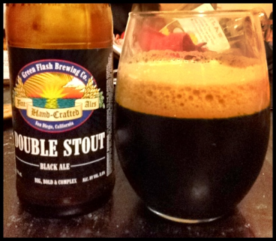 Double Stout Black Ale, Green Flash Brewing Co., San Diego, CA, 8.8% abv. This really stands out from other imperial stouts. It's fermented at higher temperatures, which gives it a slight tartness that blends smoothly with the toasty malts.