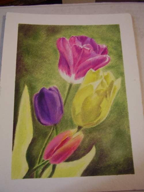Tulips 2012 is done! I'm really pleased at how this turned out. The reader may remember that this was designed to be an update to the piece I did at age 16 in 1976 and recreated in 2011, only this time with more realistic flowers. I liked the idea of keeping some abstraction in there, though. The medium, Mungyo's Gallery Soft Artist's oil pastels in the black box, which unfortunately Hobby Lobby has stopped selling.