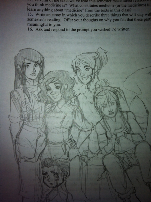 So….in my last American Indian Lit class ever I drew genderbent Legend of Korra instead of whatever it is I'm supposed to do in that class.